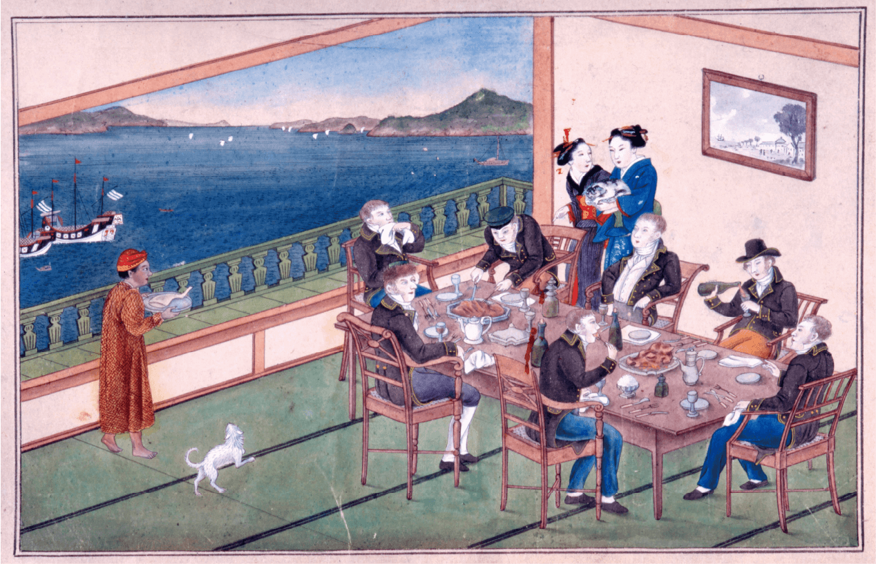 Scroll with views of the Dutch Factory and Chinese Quarter in Nagasaki Stored in Nagasaki Museum of History and Culture.